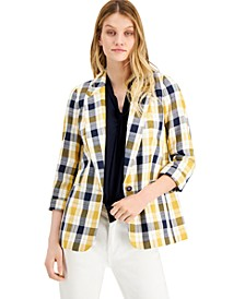 Plaid Notch-Collar Jacket, Created for Macy's