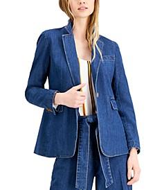 Denim One-Button Blazer, Created for Macy's