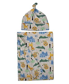 Baby Girls and Boys Soft Cotton Swaddle Wrap Blanket with Matching Hat