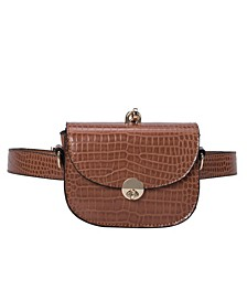 Keaton Small Croco Vegan Leather Convertible Belt Bag
