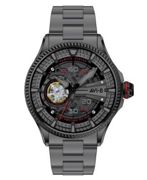 Men's Hawker Hunter Avon Automatic Black Arrows Gray Tone Stainless Steel Bracelet Watch