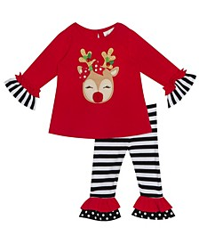 Toddler Girl Reindeer Applique Legging Set