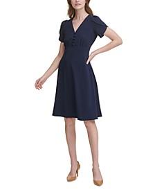 Tulip-Sleeve A-Line Dress