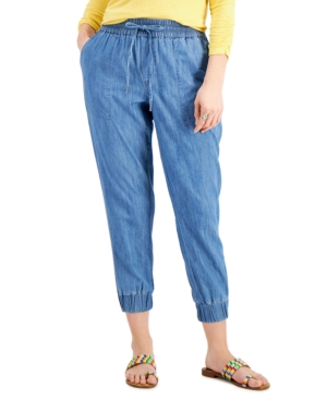 Style & Co Cotton Chambray Jogger Pants, Created For Macy's