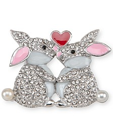 Silver-Tone Pavé & Imitation Pearl Kissing Bunny Pin, Created for Macy's