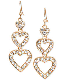 Holiday Lane Gold-Tone Pavé Heart Triple Drop Earrings, Created for Macy's