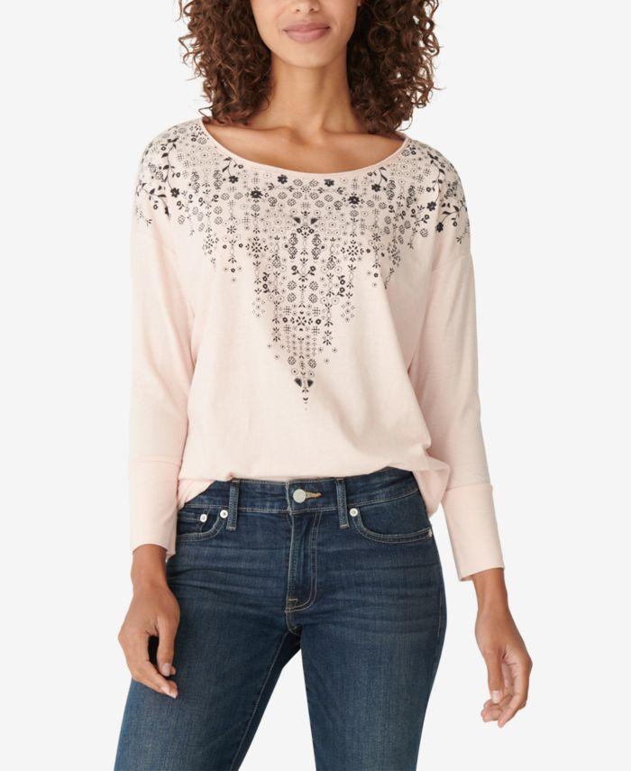Lucky Brand Drop-Shoulder Easy Long-Sleeve T-Shirt & Reviews - Tops - Women - Macy's