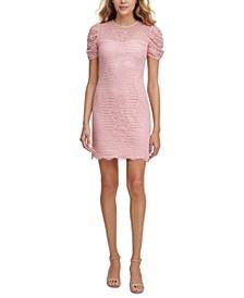Lace Puff-Sleeve Sheath Dress