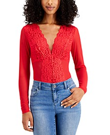 Long-Sleeve Lace Mesh Bodysuit, Created for Macy's