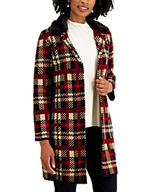 Plaid Faux-Fur-Collar Sweater Jacket