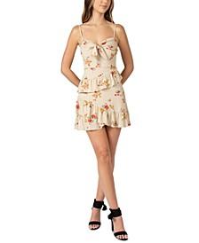 Juniors' Floral-Print Knot-Front Ruffled Dress