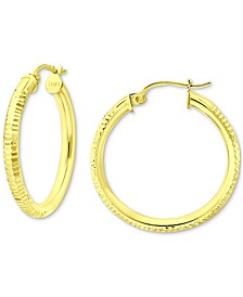 "Small Ridged Hoop Earrings in 18k Gold-Plated Sterling Silver, 1"", Created for Macy's"