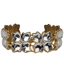 Gold-Tone Crystal Floret Link Bracelet