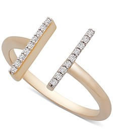 Diamond Bar Cuff Ring (1/10 ct. t.w.) in 14k Gold, Created for Macy's