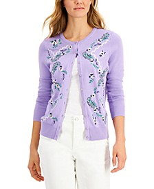 Petite Embroidered-Floral Cardigan, Created for Macy's