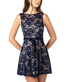Juniors' High-Neck Lace A-Line Dress