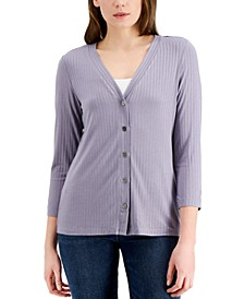 Ribbed Button-Down 3/4-Sleeve Knit Top