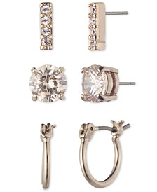 3-Pc. Set Crystal Stud & Hoop Earrings