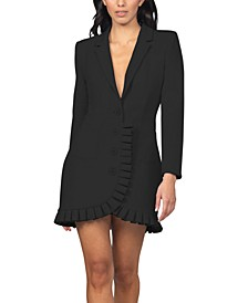 Pleated-Ruffle-Trim Blazer Dress