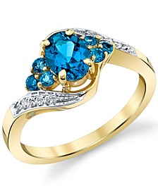 Blue Topaz (1-1/3 ct. t.w.) & Diamond (1/20 ct. t.w.) Swirl Ring in 10k Gold