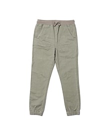 Little Boys Tie Waist Solid Twill Pant