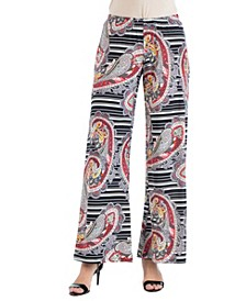 Women's Paisley and Striped Palazzo Pants