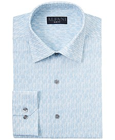 Men's Slim-Fit Performance Stretch Texture-Print Dress Shirt, Created for Macy's