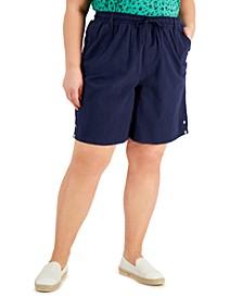 Plus Size Lisa Cotton Drawstring-Waist Shorts, Created for Macy's