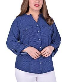 Women's Plus Size Long Roll Tab Sleeve Y-Neck Top