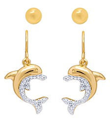 Diamond Accent Dolphin Fishhook Ball Fine Gold Plate Or Silver Plate Stud Set