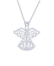 Diamond Accent Angel Silver Plate Pendant