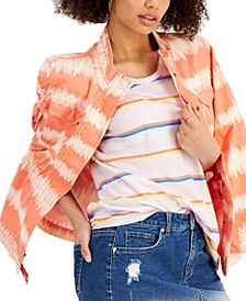 Petite Tie-Dyed Twill Jacket, Created for Macy's