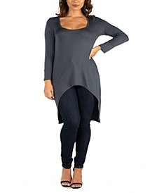 Women's Plus Long Sleeve High Low Tunic Top