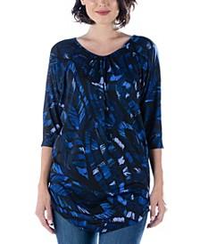 Women's Three Quarter Sleeve Print Long Tunic Top