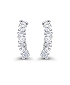 Cubic Zirconia Round and Baguette Ear Climbers in Sterling Silver