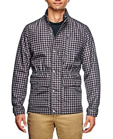 Men's Slim Fit Shadow Check Print Field Jacket and a Free Face Mask