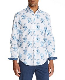 Men's Slim Fit Floral Print Long Sleeve Shirt and a Free Face Mask