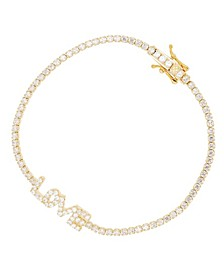 Cubic Zirconia Round Cut Love Tennis Bracelet in 14K Gold Over Sterling Silver