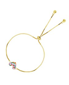 Cubic Zirconia Micro Pave Heart Adjustable Bolo Bracelet in 14K Gold Over Sterling Silver