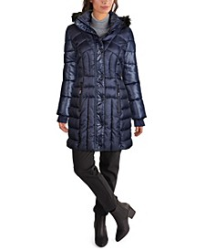 Women's Faux Fur Trim Hooded Puffer Coat