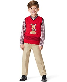 Little Boys Holiday Deer 3 Piece Sweater Set