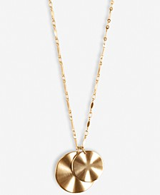 "Gold-Tone Double Wavy Coin Long Pendant Necklace, 31"" + 2"" extender"
