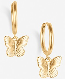 Gold-Tone Butterfly Charm Huggie Hoop Earrings