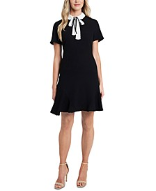 Bow-Collar A-Line Dress