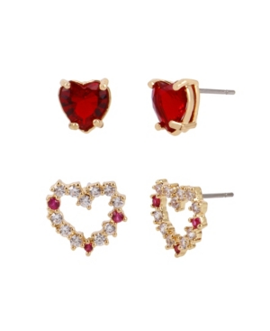 Betsey Johnson HEART STUD EARRING SET