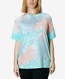 Juniors' Oversized Tie-Dyed Crewneck T-Shirt