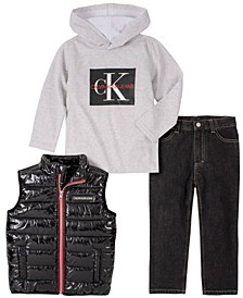 Little Boys Nylon Vest with Hooded Long Sleeve Tee and Denim Pant, 3 Piece Set