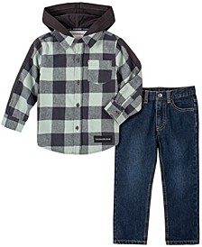 Toddler Boys Plaid with Knit Hood Woven Shirt and Denim Pant, 2 Piece Set