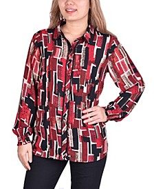 Women's Long Sleeve Button Front Blouse with Contrast Binding