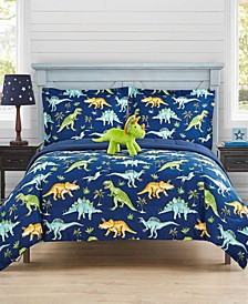 Watercolor Dinosaur 3-Pc Twin Comforter Set with Decorative Pillow